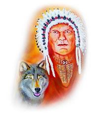 Airbrush Indianer mit Wolf